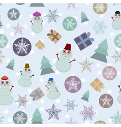 Seamless pattern new year snowflake snowman sheep vector image