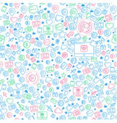social media blue seamless pattern vector image