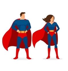 Superhero Couple of Flat Superman and Superwoman vector image