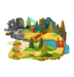 travelers adventures on forest trail flat design vector image