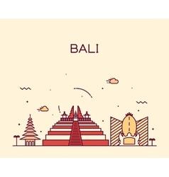 Bali skyline trendy linear vector