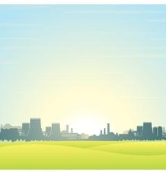 Eco Friendly Nuclear Plant Landscape vector image