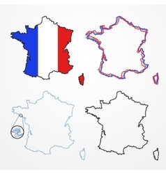 France silhouette set vector image