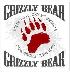 Grizzly Bear footprint emblem - vector image