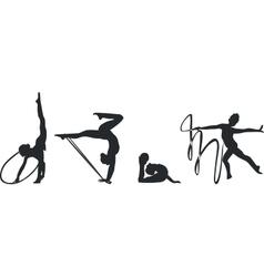 Gymnast silhouette set black 02 vector image
