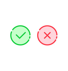 linear check mark icon like tick and cross vector image