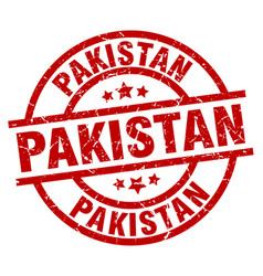 pakistan red round grunge stamp vector image vector image