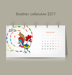 rooster calendar 2017 for your design vector image vector image