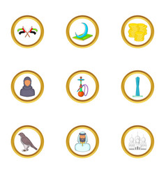 uae icons set cartoon style vector image vector image