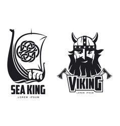 vikings icon logo simple set flat isolated vector image vector image