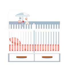 Crib with drawers and hanging rattle isolated on vector