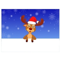 Cute deer with blank sign vector image vector image