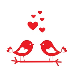 Love birds with red hearts vector