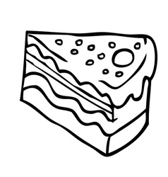simple black and white piece of cake vector image vector image