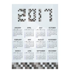 2017 simple business wall calendar grayscale vector image