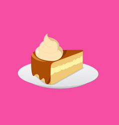 cake chocolate and cream on plate with cream vector image