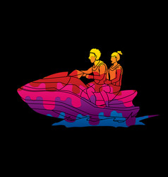 couple riding jet ski man and woman enjoy riding vector image vector image