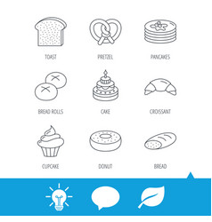 croissant pretzel and bread icons cupcake vector image