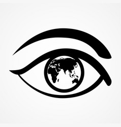 eye with world map vector image vector image