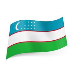national flag of uzbekistan blue white and green vector image vector image