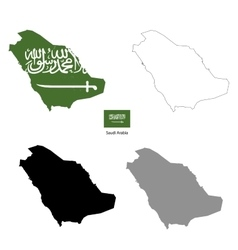 Saudi Arabia country black silhouette and with vector image vector image