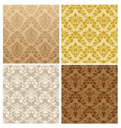 seamless damask pattern set vector image vector image