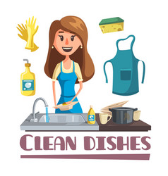 woman washing dishes by hand in sink poster vector image