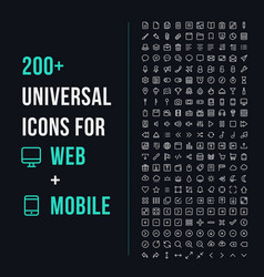 200 universal icons vector image