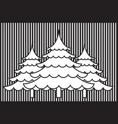 Abstract christmas tree with silhouette background vector
