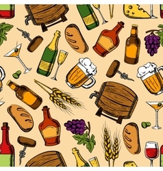 Alcohol drinks with snacks seamless pattern vector