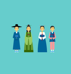 Asian people wearing traditional dress male and vector