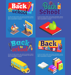 back to school set of posters with inscriptions vector image