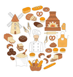 Bakery collection doodle style vector