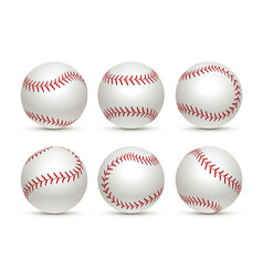 Baseball ball isolated white icon softball set vector