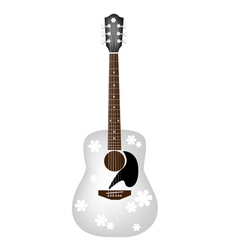 Beautiful Flowers Pattern on White Acoustic Guitar vector