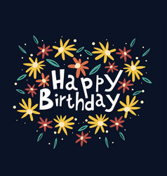 Beautiful happy birthday greeting card vector