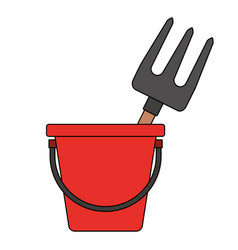 bucket with gardening rake vector image