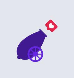 Cannon shoots like purple retro cannon shoots vector