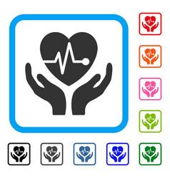 Cardiology framed icon vector