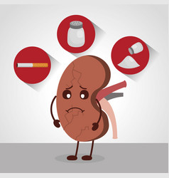 Cartoon sad kidney human organ salt cigar vector