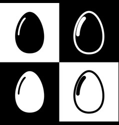 chicken egg sign black and white icons vector image