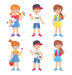 Children holding colorful toys isolated on white vector