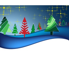 Christmas landscape with colorful trees vector image