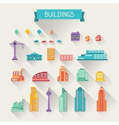 Cityscape icon set of buildings vector image