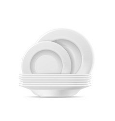 clean plates food white plate set realistic vector image