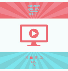 computer with play button icon vector image