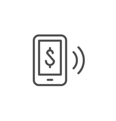 Contactless payment line outline icon vector