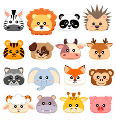 Cute cartoon animals head dog pig cow deer vector