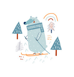 Cute hand drawn bear in forest skiing cartoon vector