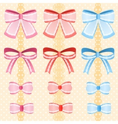 Cute silky or satin lace ribbon or bow for vector